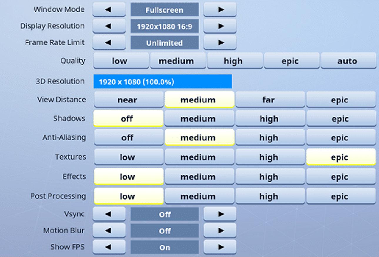 HighDistortion Fortnite Settings